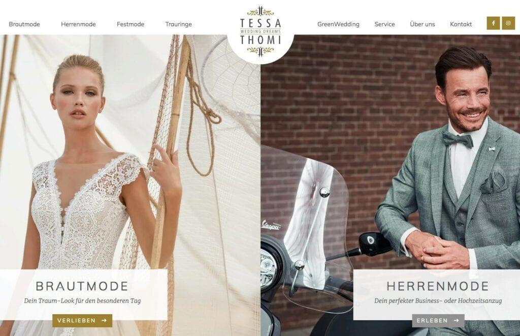Brautkleid, Massanzug, Abendmode dazu passenden Schmuck und Schuhe – bei Tessa & Thomi findet Ihr alles für Eure Hochzeit.